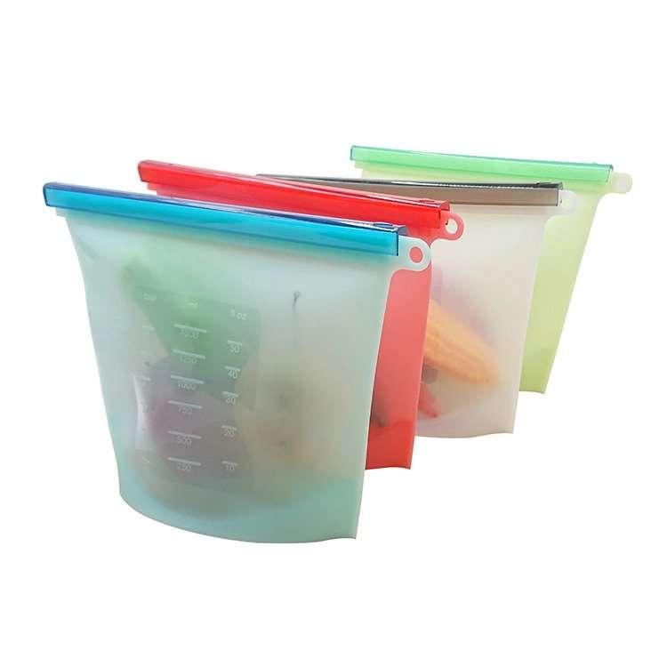 herm/éticas sin fugas verduras reutilizables sin BPA sopa de carne Large 2 Pcs/&small 4 Pcs para frutas Bolsas de almacenamiento de alimentos de silicona ecol/ógicas